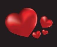 Quatre coeurs rouges Image libre de droits