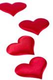 Quatre coeurs rouges Images libres de droits