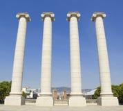 Quatre colonnes blanches, Barcelone Images libres de droits