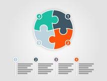 Quatre colorés ont dégrossi calibre infographic de présentation de puzzle de cercle Photographie stock libre de droits