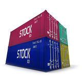 Quatre conteneurs de cargaison colorés images stock