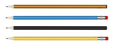 Quatre crayons d'isolement sur le blanc Images stock