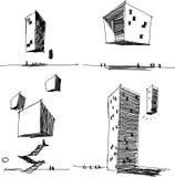 Quatre croquis architecturaux d'une architecture abstraite moderne Photo stock