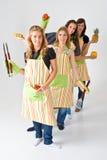 Quatre cuisiniers féminins Photo libre de droits
