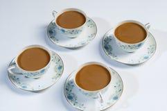 Quatre cuvettes de café Photos libres de droits