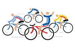 Quatre cyclistes de emballage Photo stock
