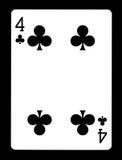 Quatre de clubs jouant la carte, Images stock