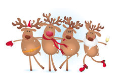 Quatre deers heureux illustration de vecteur