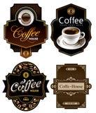 Quatre descripteurs de conception de café Photos libres de droits