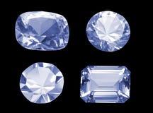 Quatre diamants formés différents d'isolement au-dessus du noir Photo stock