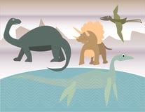 Quatre dinosaurs dans la scène préhistorique Photos stock