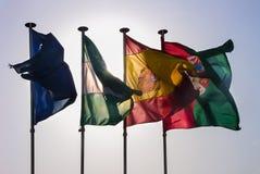 Quatre drapeaux éclairés à contre-jour européens Photos libres de droits