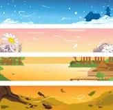 Quatre drapeaux de saisons Photos libres de droits