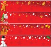 Quatre drapeaux horizontaux de Noël. Images stock