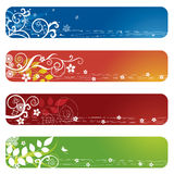 Quatre drapeaux ou signets floraux Illustration Stock