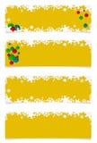Quatre en-têtes jaunes de Noël images stock