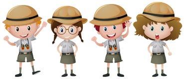 Quatre enfants dans l'équipement de safari illustration stock