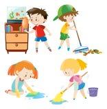 Quatre enfants faisant différentes corvées à la maison illustration libre de droits