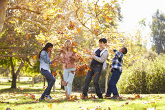Quatre enfants jetant Autumn Leaves In The Air Image stock