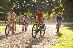 Quatre enfants sur le tour de cycle dans la campagne ensemble Photos stock
