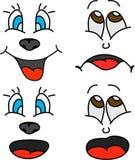 Quatre expressions faciales de bande dessinée Images libres de droits