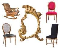 Quatre fauteuils magnifiques de cru et un cadre d'isolement sur le fond blanc photographie stock