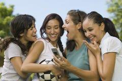 Quatre femmes riant de l'affichage de téléphone portable Images stock