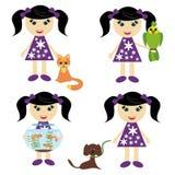 Quatre filles avec des animaux familiers Images libres de droits