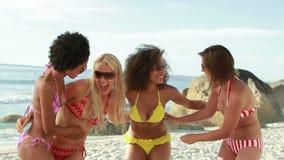 Quatre filles dans des bikinis souriant ensemble banque de vidéos
