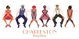 Quatre filles et rétro danse de port pour deux hommes Charleston d'aileron de vêtements illustration libre de droits