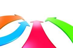 Quatre flèches de couleur vont en avant, le rendu 3D Photos libres de droits