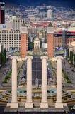 Quatre fléaux et Plaza de Espana, Barcelone Image libre de droits