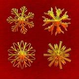 Quatre flocons de neige d'or 2 - avec le chemin de découpage Photo stock