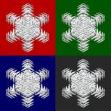 Quatre flocons de neige sur le backround coloré Photos libres de droits
