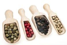 Quatre genres différents de grains de poivre Photographie stock