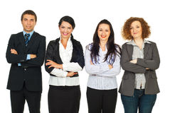 Quatre gens d'affaires restant dans une ligne Image libre de droits