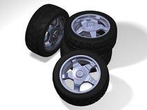 Quatre grandes roues avec des pneus illustration libre de droits