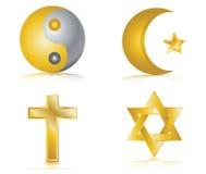 Quatre graphismes lustrés d'or pour différentes religions illustration stock