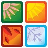 Quatre graphismes stylisés de saisons Images stock