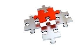Quatre Grey Puzzle Pieces au-dessous d'un morceau rouge illustration stock