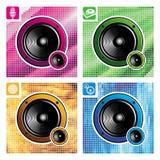 Quatre haut-parleurs Image libre de droits