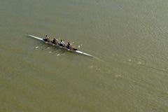 Quatre hommes ramant sur le Danube image stock