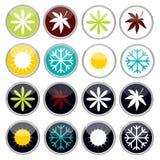 Quatre icônes lumineuses colorées de saisons illustration libre de droits