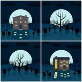 Quatre illustrations de vecteur pour Halloween Photographie stock libre de droits