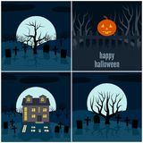 Quatre illustrations de vecteur pour Halloween Photos stock