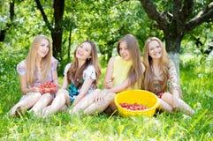 Quatre jeunes amis ayant l'amusement mangeant la fraise Images stock