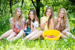 Quatre jeunes amis ayant l'amusement mangeant la fraise Photo stock