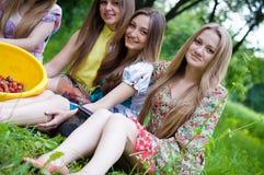 Quatre jeunes amis ayant l'amusement mangeant la fraise Photographie stock