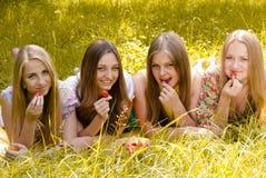 Quatre jeunes amis ayant l'amusement mangeant la fraise de la cuvette énorme Images stock