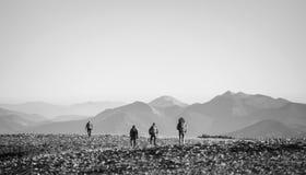 Quatre jeunes sportifs marchant sur la montagne rocheuse platon Images stock